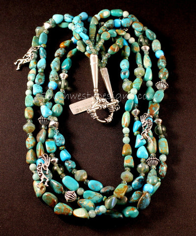 4-Strand Nevada Turquoise Nugget Necklace with Czech Glass and Sterling Silver