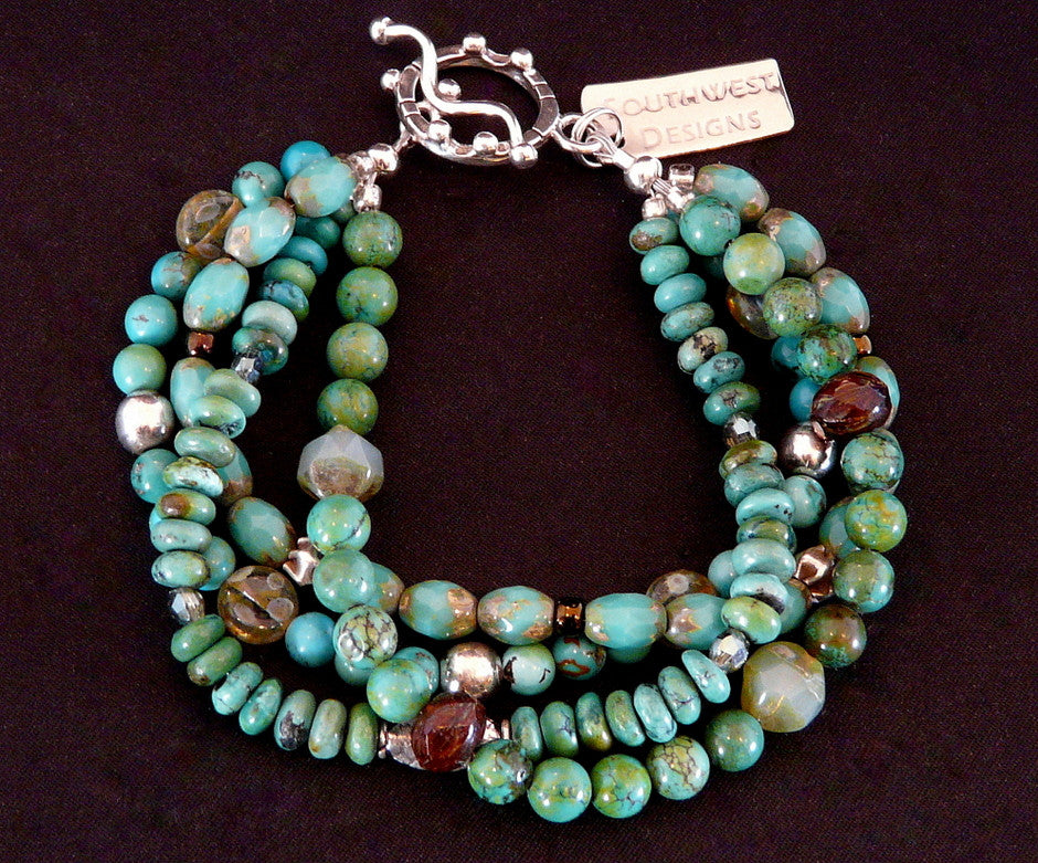 Turquoise, Czech Glass and Sterling Silver Bracelet