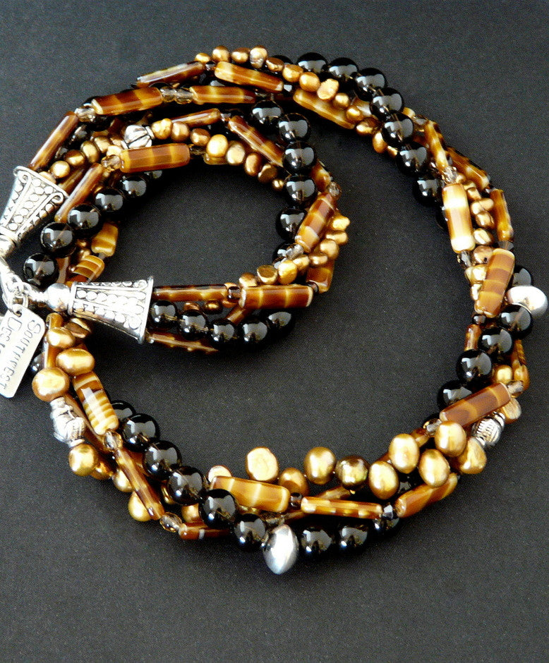 Twist Necklace with Smoky Quartz, Caramel Glass, Pearls & Sterling