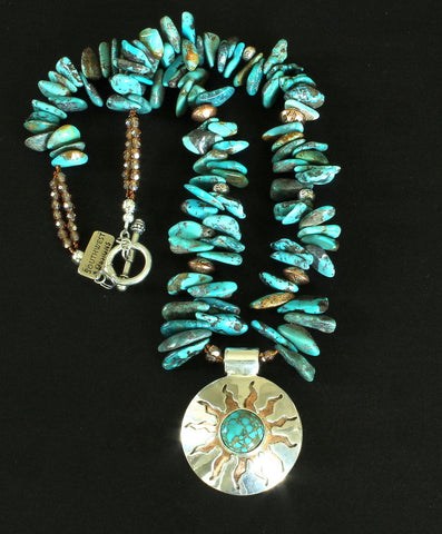 Kingman Turquoise, Sterling Silver and Copper Pendant with Turquoise Briolette, Copper & Sterling