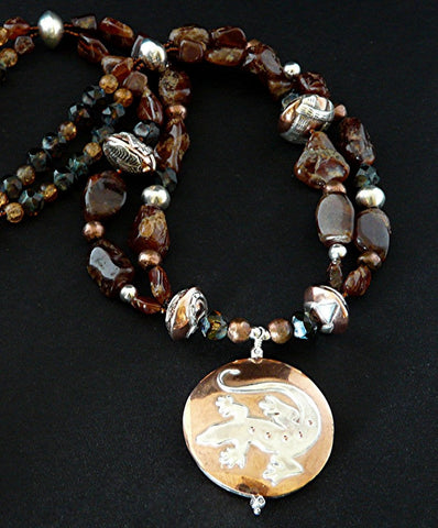 Hessonite Garnet Necklace with Handcrafted Sterling and Copper Pendant