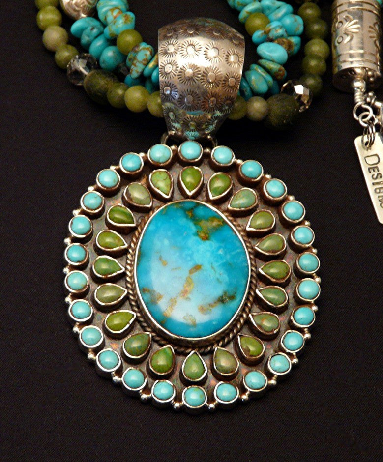 Turquoise, Jade and Sterling Necklace with 47-Stone Turquoise Pendant