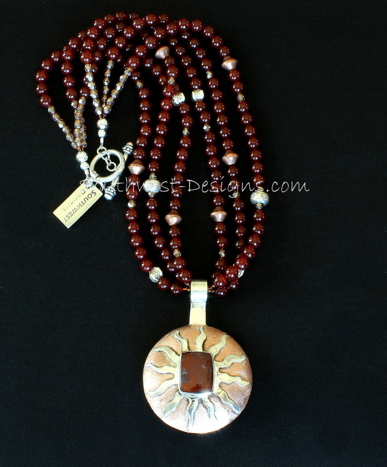 Rainbow Jasper, Sterling & Copper Domed Pendant with 3 Strands of Carnelian,  Fire Polished Glass, Copper & Sterling