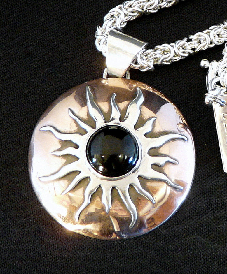 Onyx, Sterling and Copper Pendant with Sterling Silver Byzantine Link Chain