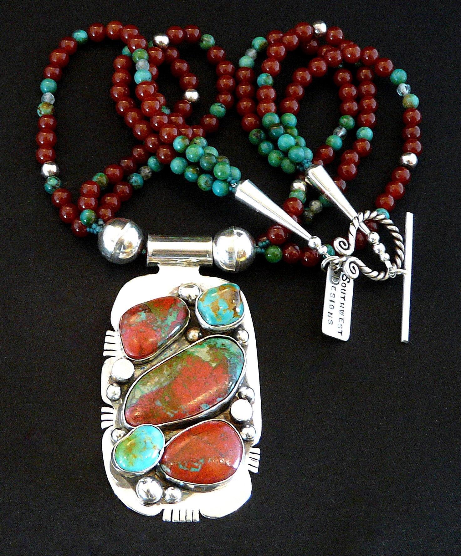 Sonora Sunset, Turquoise & Sterling Pendant with Carnelian & Turquoise