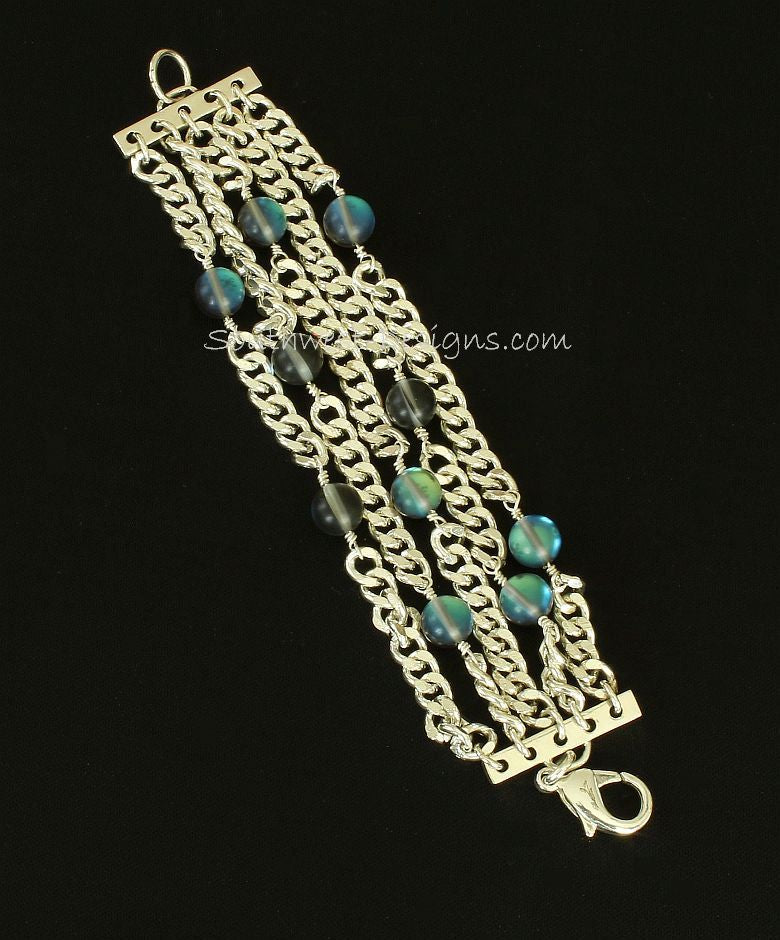 5-Strand Silverplate Curb Chain Bracelet with Iridescent Glass and Sterling Silver Bars & Clasp