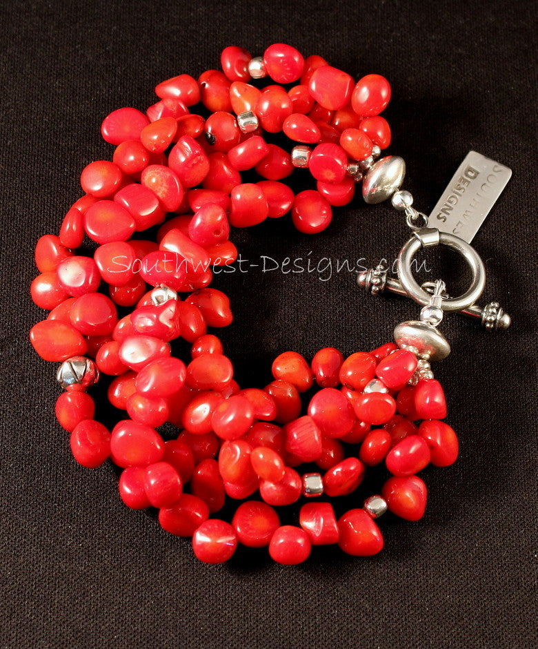 5-Strand Bamboo Coral Petal Bracelet with Sterling Silver