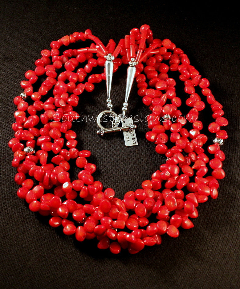 5-Strand Bamboo Coral Petal Necklace with Sterling Beads and Findings