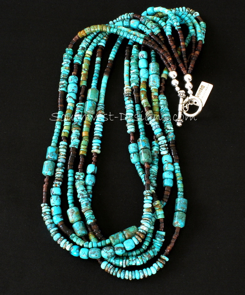 Mixed Turquoise Heishi 5-Strand Necklace with Pen Shell Heishi and Sterling Silver