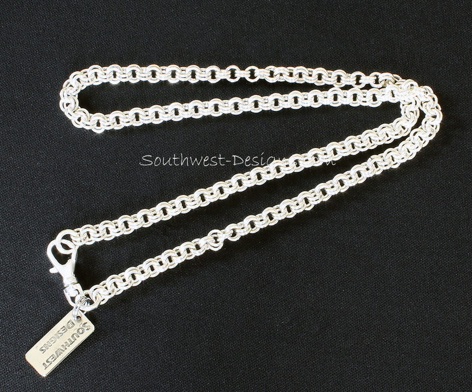 21-3/4 Inch Sterling Silver Two-by-Two Link Chain with Sterling Spring Ring Clasp