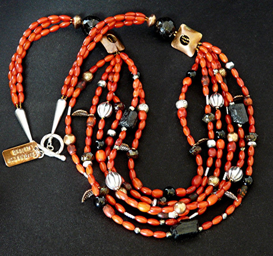 Coral Necklace with Tourmaline, Copper & Sterling Silver