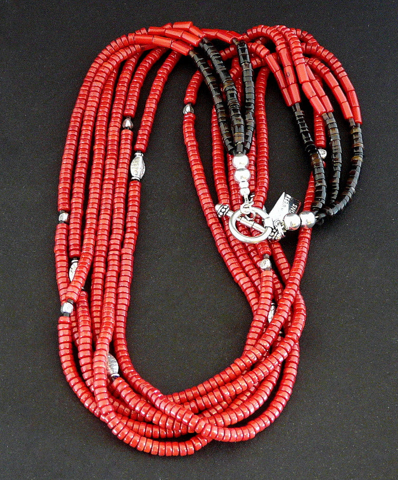 Red Coral Heishi 6-Strand Necklace with Sterling Silver