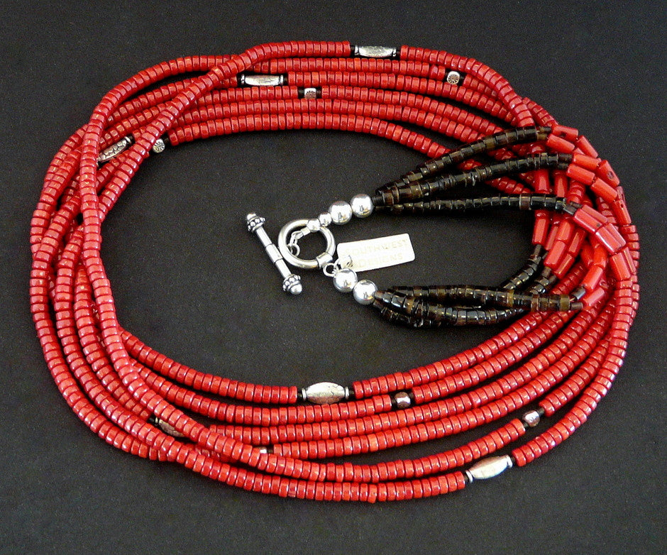 Red Coral 6-Strand Necklace with Pen Shell Heishi and Stamped Sterling Silver