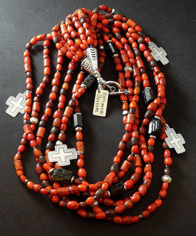 Sherpa Bead 6-Strand Necklace with Coral, Tourmaline & Sterling