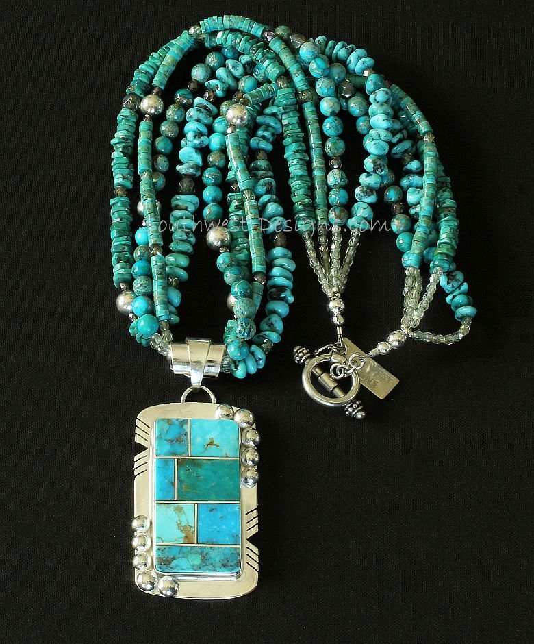 7-Stone Inlaid Kingman Turquoise & Sterling Pendant with 4 Strands Turquoise & Imperial Jasper & Sterling
