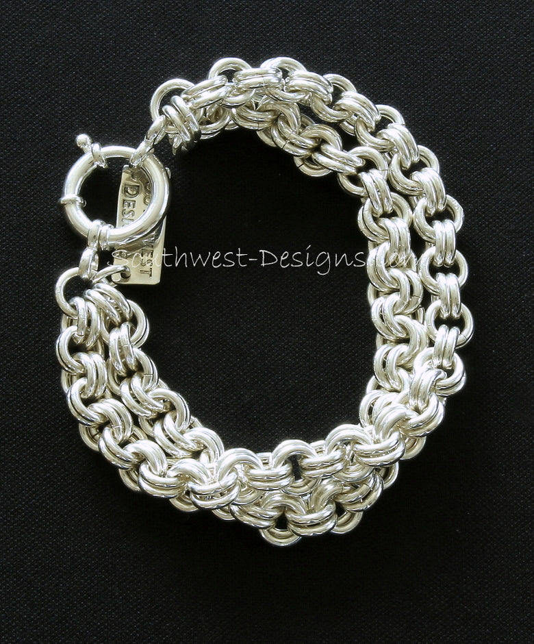 8.2mm 2-Strand Sterling Silver Two-By-Two Link Bracelet with 18mm Sterling Silver Spring Ring Clasp