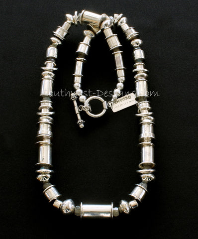 80-Piece Handcrafted Sterling Silver Cylinder Bead Necklace with Labradorite Faceted Rondelles and Sterling Toggle Clasp