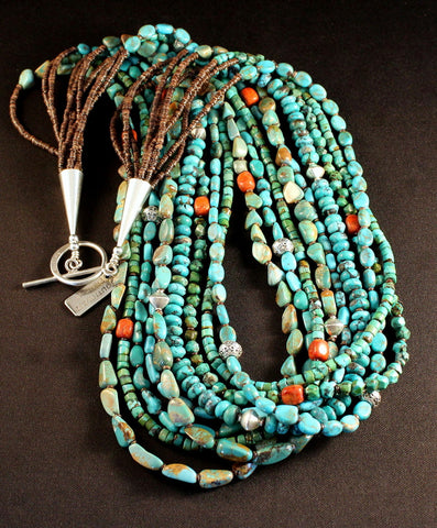 9-Strand Turquoise Necklace with Coral, Shell Heishi and Sterling