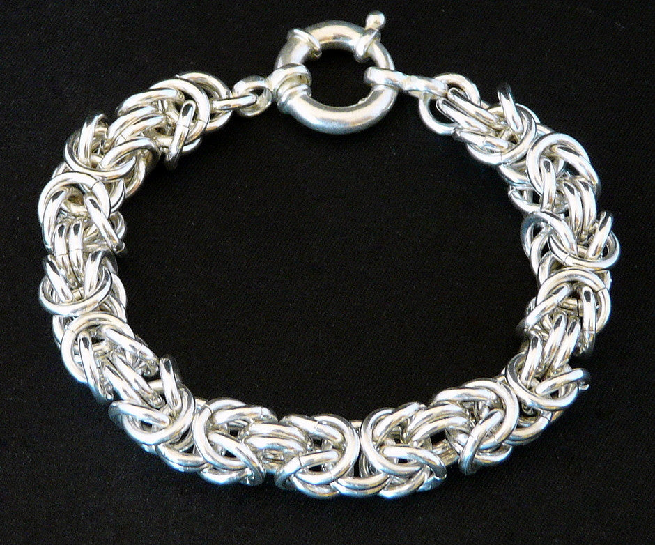 Sterling Silver 9.2mm Byzantine Link Bracelet with Spring Ring Clasp