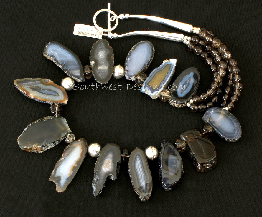 Agate Slab Necklace with Smoky Quartz Rondelles and Rounds and Sterling Silver