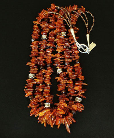 Amber Long Chip 3-Strand Necklace with Sterling Silver