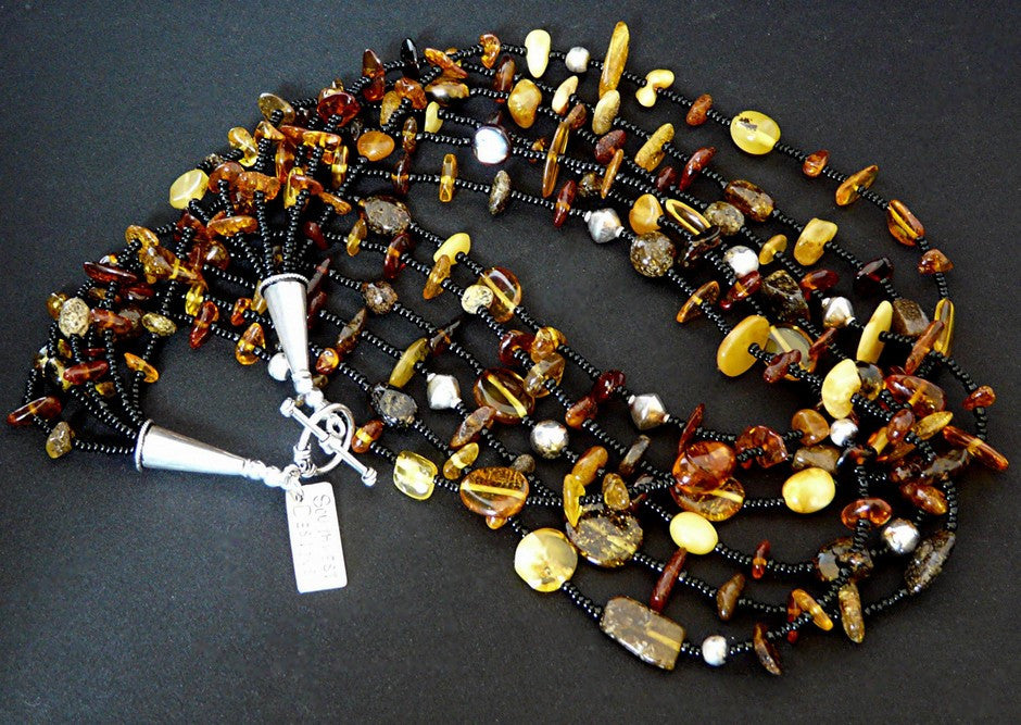 Baltic Amber 6-Strand Nugget Necklace
