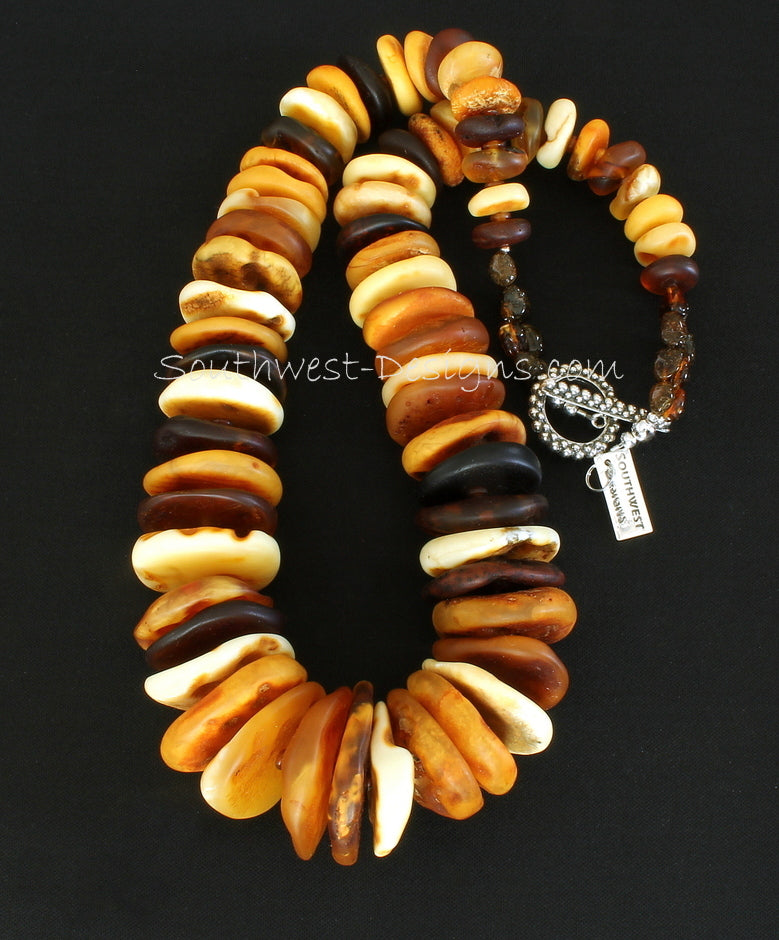 Natural Baltic Amber Multi-Hued Disc Necklace with Amber Nuggets, Horn Bead Rondelles and Sterling Silver