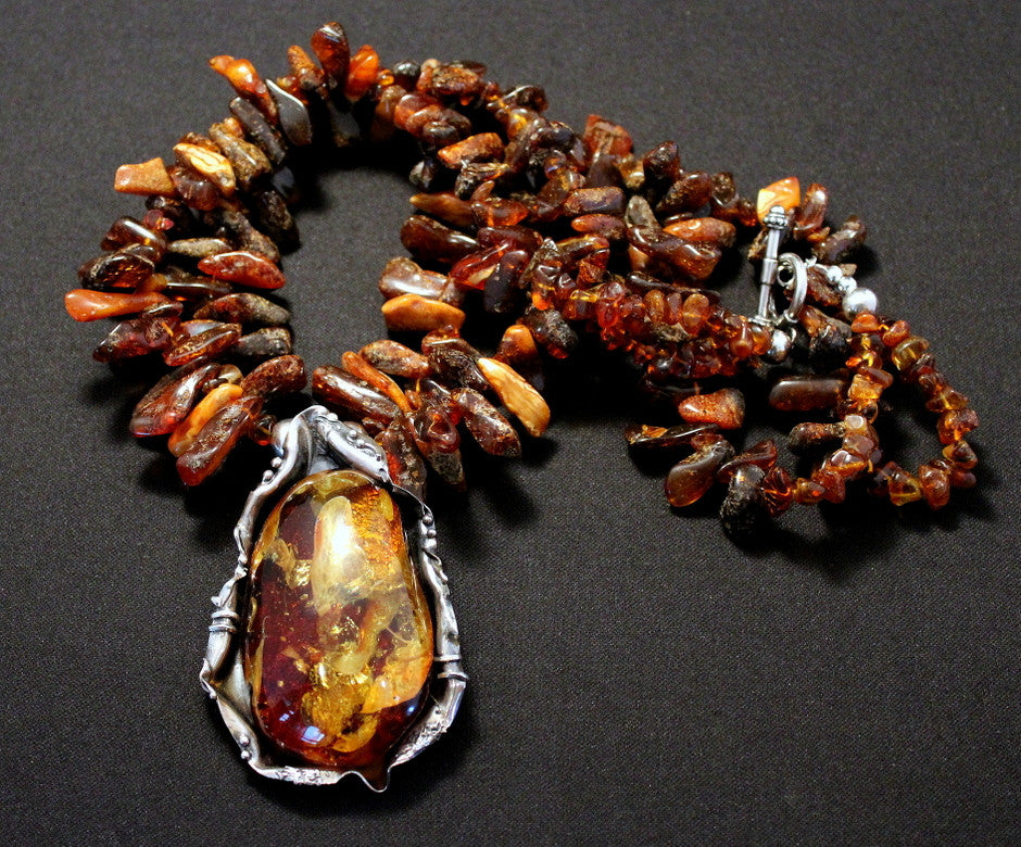 Baltic Amber & Sterling Wrapped Pendant with Amber Spikes