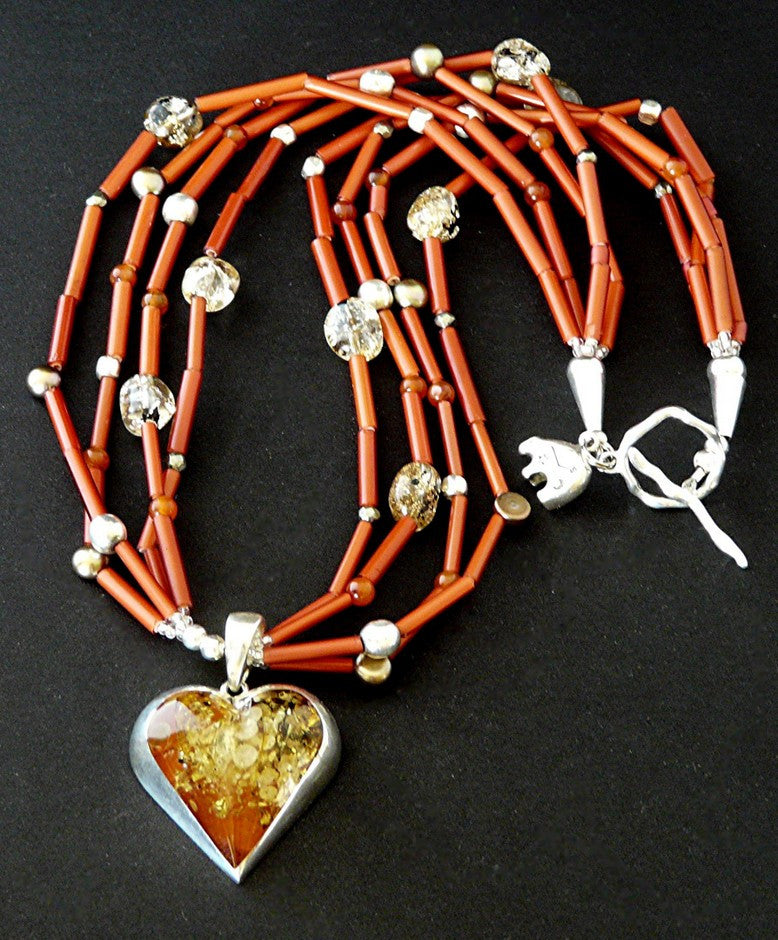 Amber & Sterling Silver Heart Pendant with Antique White Heart Beads