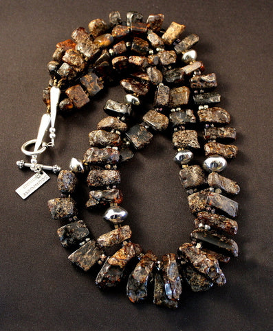 Baltic Amber 2-Strand Necklace with Vintage Nailheads and Sterling
