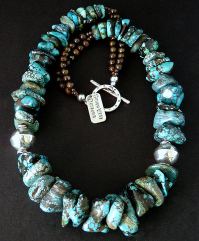 Antique Turquoise Nugget Necklace with Sterling