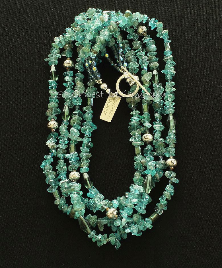Blue Apatite Nugget 4-Strand Necklace with Czech Glass, Faceted Crystal and Sterling Silver