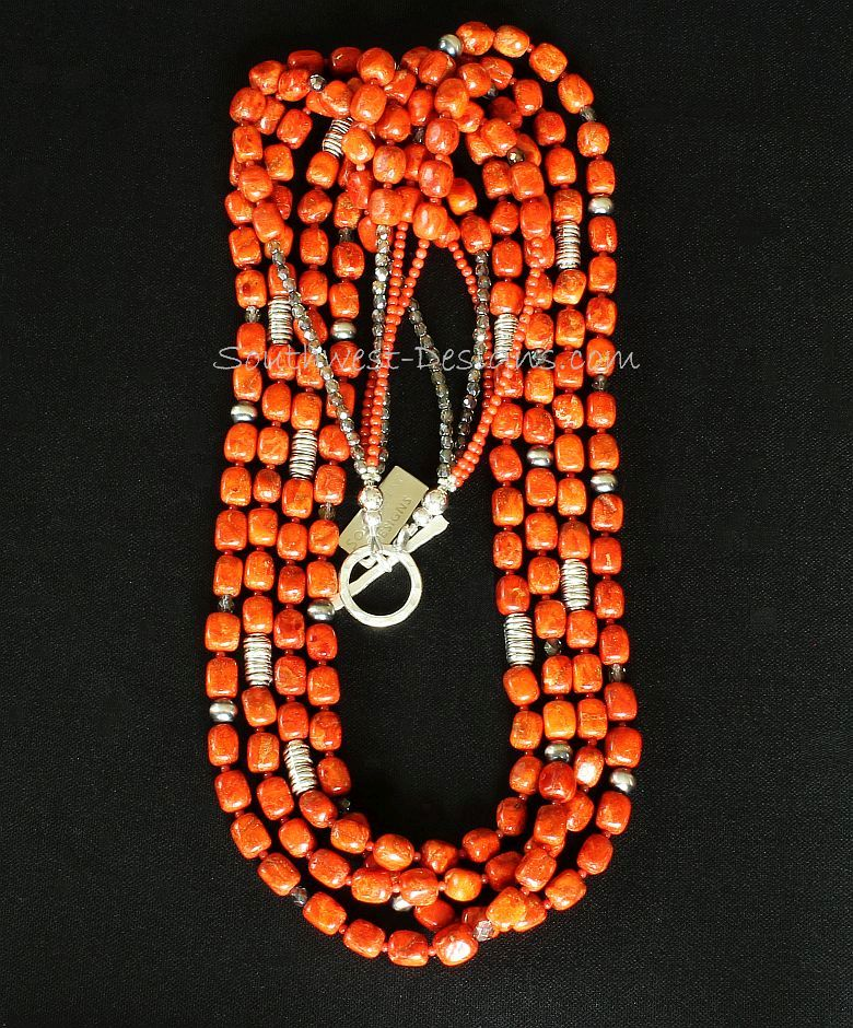 Apple Coral Cubes 4-Strand Necklace with Bamboo Coral Rounds, Fire Polished Glass and Sterling Silver