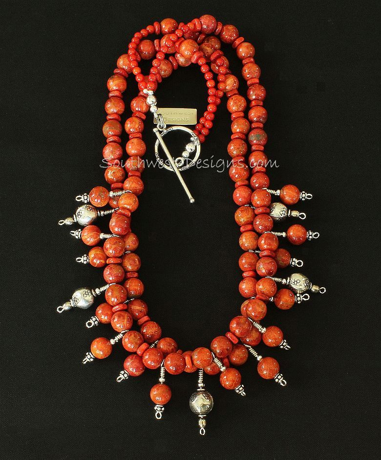 Apple Coral Rounds & Heishi 3-Strand Necklace with Coral and Sterling Silver Talismans and Sterling Toggle