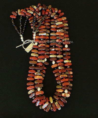Apple Jasper Stick 3-Strand Necklace with Czech Glass and Sterling Silver