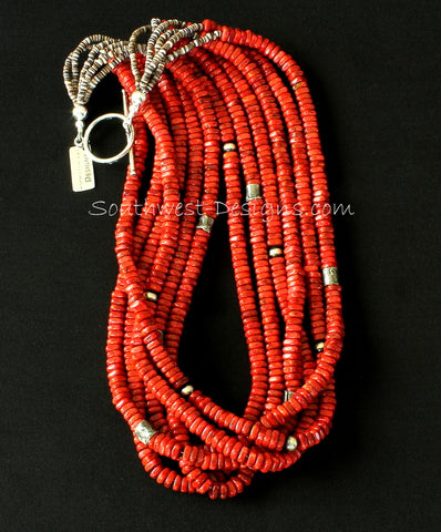 Apple Coral Heishi 6-Strand Necklace with Oyster Shell Heishi, Mojo Cylinder Beads and Oxidized Sterling Silver Rounds and