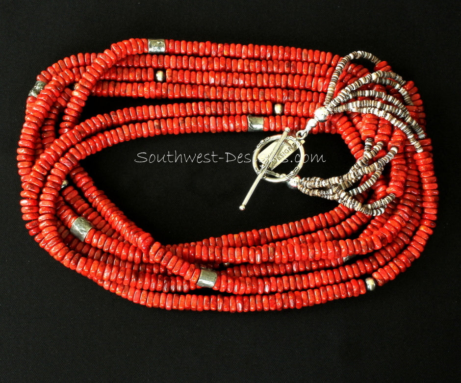 """RED Stabilized Coral Heishi Sterling Silver Bracelet Gift 7/"""" 5 St 8606"""