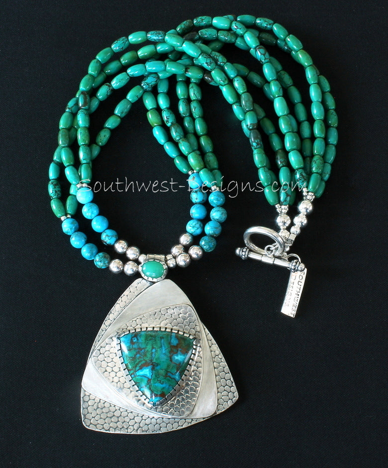 Australian Chrysocolla, Chrysoprase and Sterling Silver Roller-Printed Pendant with 4 Strands of Turquoise and Sterling