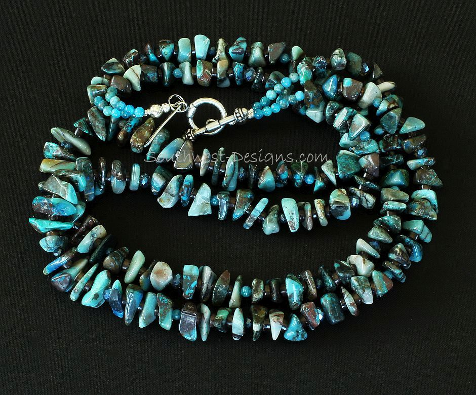 Azurite Chip 2-Strand Necklace with Apatite Rounds, Faceted Glass, Pen Shell Heishi and Sterling Silver