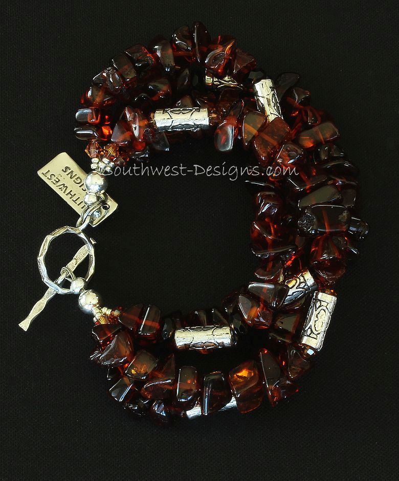 Baltic Amber Nugget 4-Strand Bracelet with Swarovski Crystal and Sterling Silver