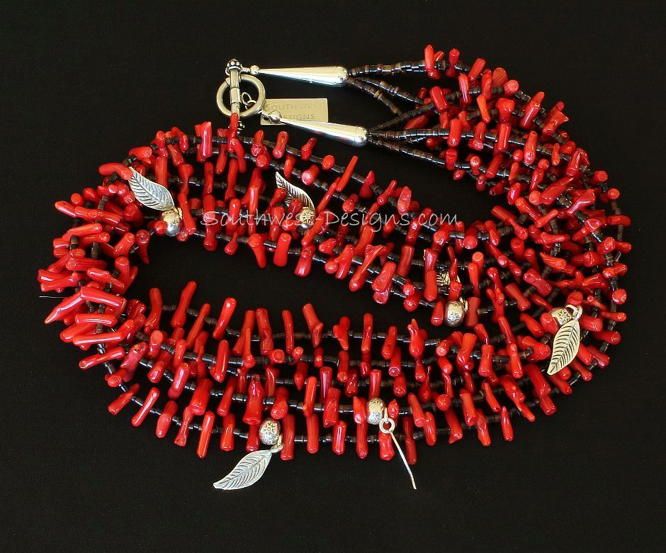Bamboo Coral, Olive Shell Heishi and Sterling Silver 5-Strand Necklace