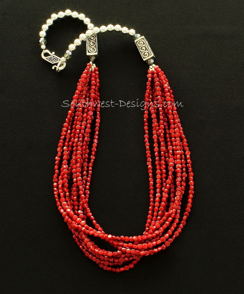 Bamboo Coral Faceted Coin Bead 9-Strand Necklace with Ornate Sterling Silver