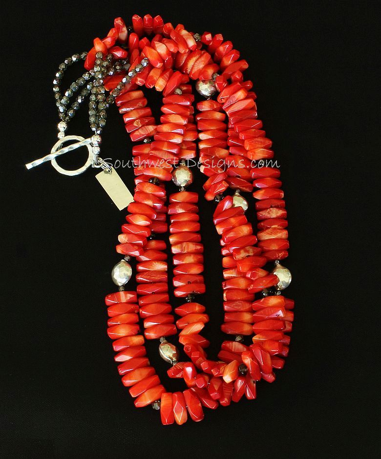 Bamboo Coral Long Nugget 3-Strand Necklace with Smoky Quartz and Sterling Silver