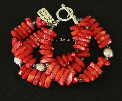 Bamboo Coral Long Nugget 3-Strand Bracelet with Smoky Quartz, Fire Polished Glass and Sterling Silver