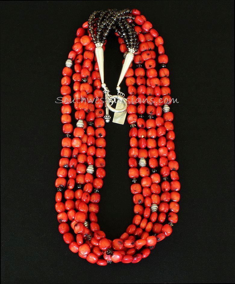 Bamboo Coral 5-Strand Necklace with Smoky Quartz, Swarovski Crystal and Sterling Silver
