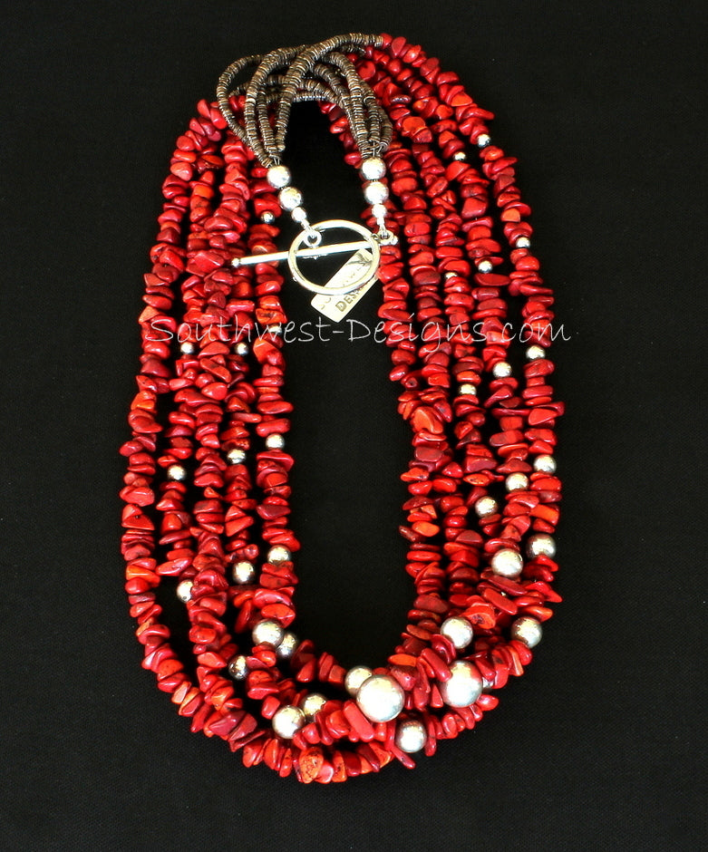 Bamboo Coral Chip 5-Strand Necklace with Olive Shell Heishi & Sterling Silver