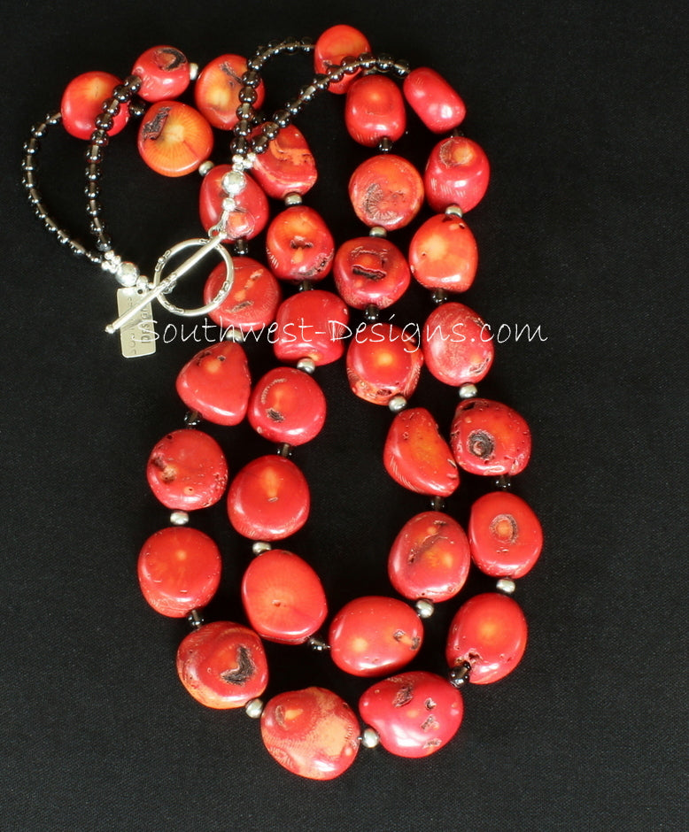 Bamboo Coral Chunky Oval 2-Strand Necklace with Oxidized Sterling & Smoky Quartz Rounds