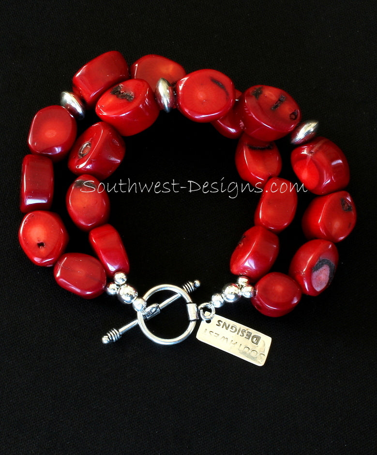 Bamboo Coral Round Nugget 2-Strand Bracelet with Sterling Silver Rondelle Beads and Sterling Toggle Clasp