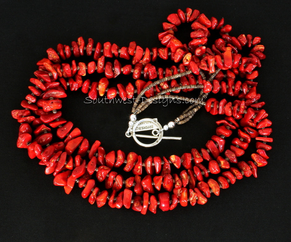 Bamboo Coral Nugget 3-Strand Necklace with Olive Shell Heishi & Sterling Silver