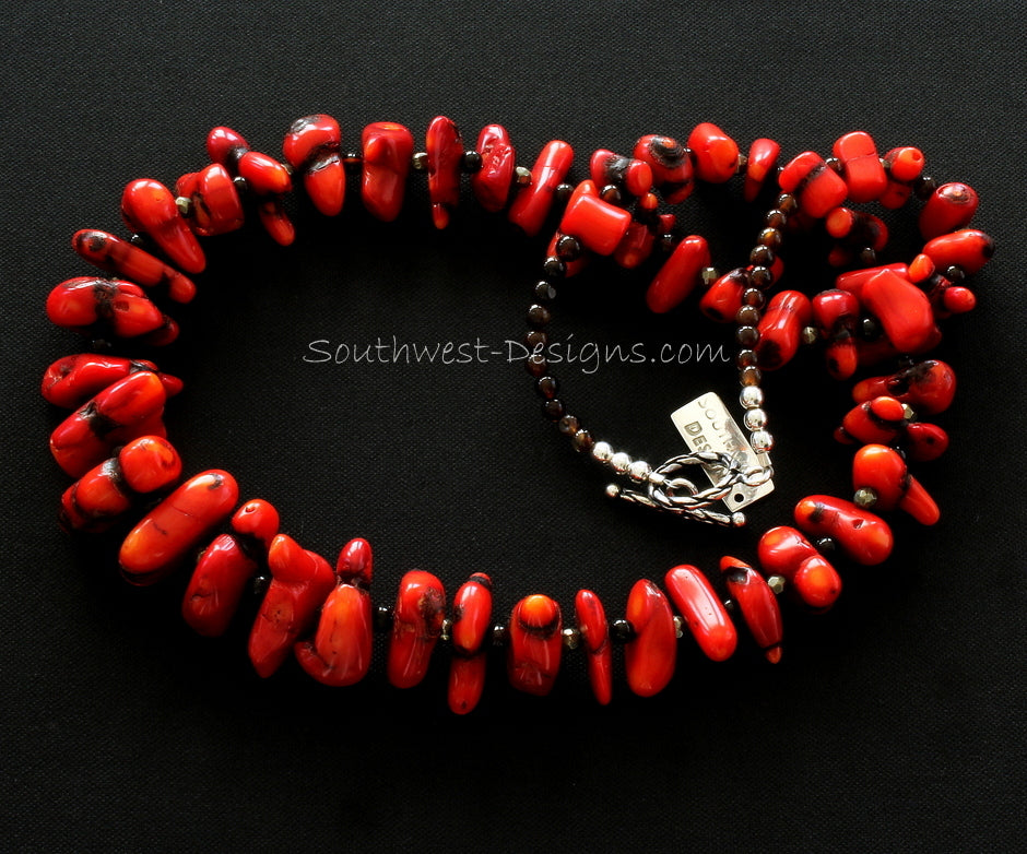 Bamboo Coral Nugget Graduated Necklace with Black Amber Rounds, Pyrite Rondelles and Sterling Silver